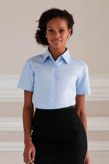Блузка с коротким рукавом голубого цвета