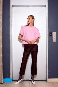 Блузка с коротким рукавом хлопковая розовая