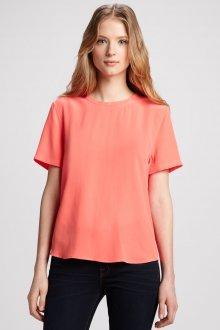 Блузка с коротким рукавом коралловая