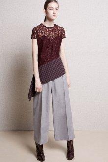 Блузка с коротким рукавом кружевная коричневая