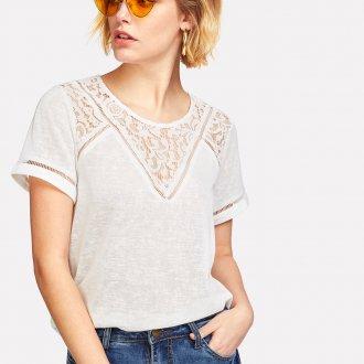 Блузка с коротким рукавом кружевная
