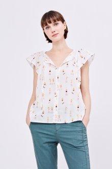 Блузка с коротким рукавом в мелкий принт