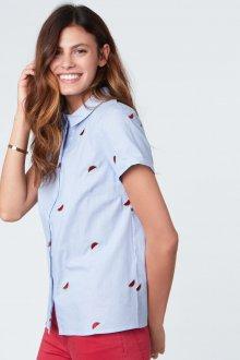 Блузка с коротким рукавом в мелкий рисунок