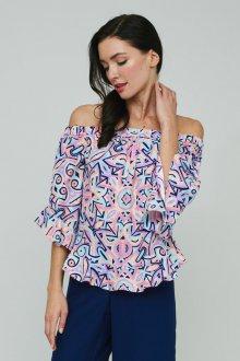Блузка с коротким рукавом разноцветная