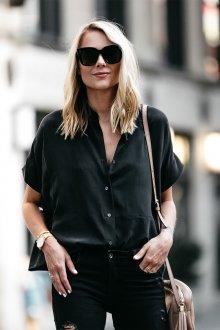 Блузка с коротким рукавом шелковая черная