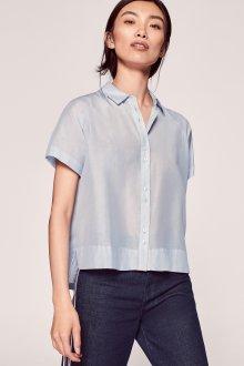 Блузка с коротким рукавом шелковая голубая