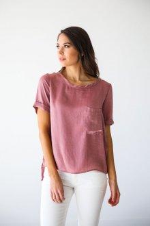 Блузка с коротким рукавом шелковая розовая