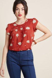 Блузка с коротким рукавом шелковая