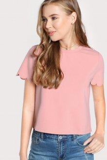 Блузка с коротким рукавом шифоновая розовая