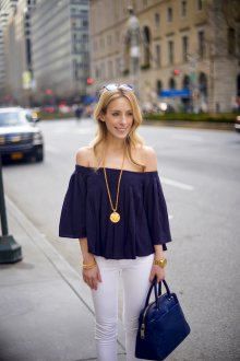 Блузка с коротким рукавом синяя свободная