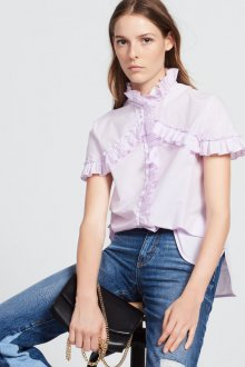 Блузка с коротким рукавом и воротником стойкой