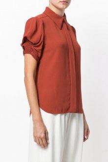 Блузка с коротким рукавом терракотовая