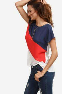 Блузка с коротким рукавом трехцветная