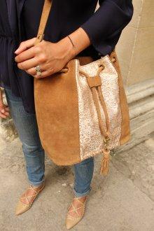 Золотая сумка замшевая