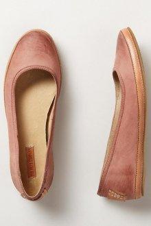 Кожаные балетки розовые