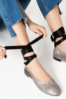 Кожаные балетки серебро