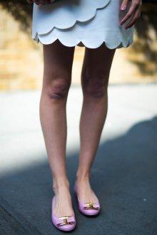 Кожаные балетки сиреневые