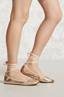 Кожаные балетки золотые