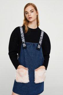 Джинсовый сарафан с карманами модный