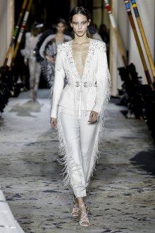 Белые женские брюки с бахромой
