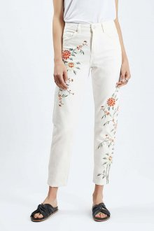 Белые женские брюки с цветочной вышивкой