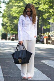 Белые женские брюки лук