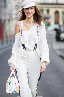 Белые женские брюки с подтяжками