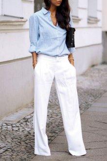 Белые женские брюки с рубашкой