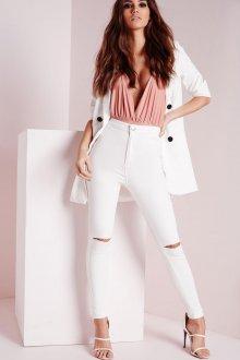 Белые женские брюки с высокой талией