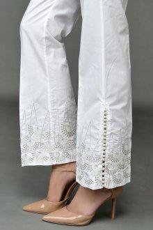 Белые женские брюки с вышивкой