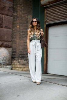 Белые женские брюки с завышенной талией летние