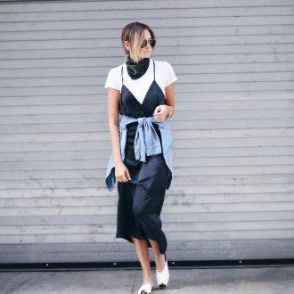 Платье на бретелях черное шелковое