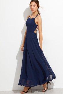 Платье на бретелях синее