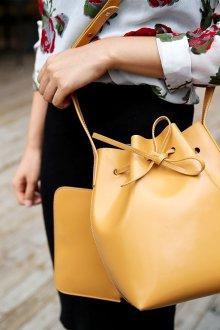 Сумка мешок желтая кожаная