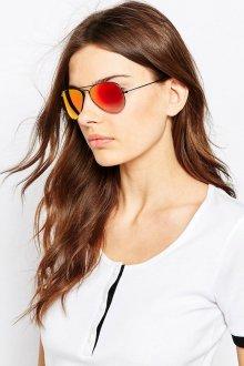 Зеркальные очки авиаторы красные