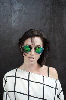 Зеркальные очки авиаторы зеленые