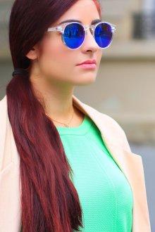 Зеркальные очки круглые синие