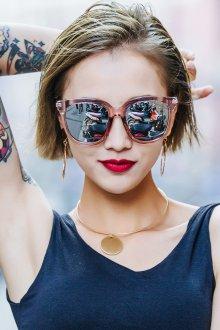 Зеркальные очки солнечные бежевые