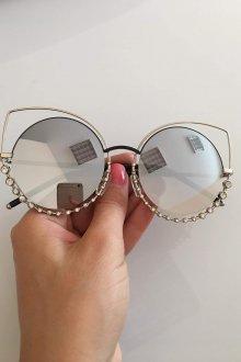 Зеркальные очки со стразами