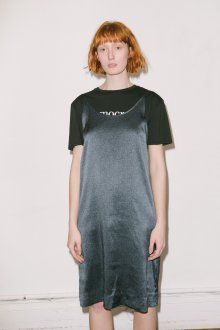 Черная футболка с платьем в бельевом стиле
