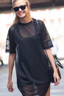 Черная футболка сетка