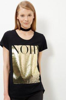Черная футболка с золотым принтом