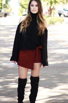 Юбка шорты бордовая
