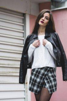 Юбка шорты черно-белая