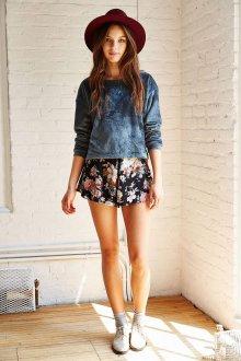 Юбка шорты цветочная