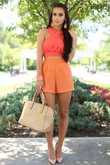 Шорты с высокой талией оранжевые