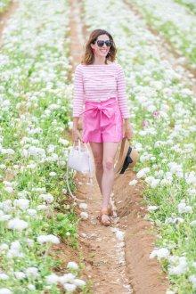 Шорты с высокой талией розовые хлопковые