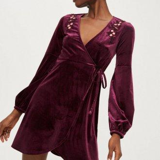 Платье халат бархатное фиолетовое
