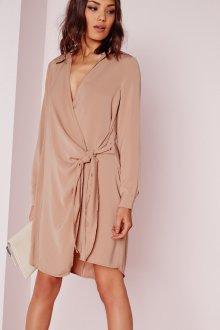 Платье халат бежевое