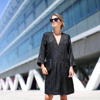 Платье халат черное